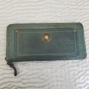 Dark Green Leather Coach wallet